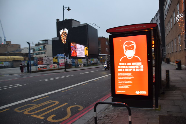 DSC_8632  Shoreditch High Street London Wear a Face Mask on Public Transport or face a fine up to £6,400 COVID-19 Coronavirus Sign