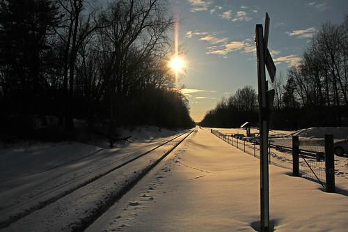 winter winterphotography winterrailroadphotography railroadtracksinsnow sun sunandclouds sky snow portagehikeandbiketrail bradylakeohio