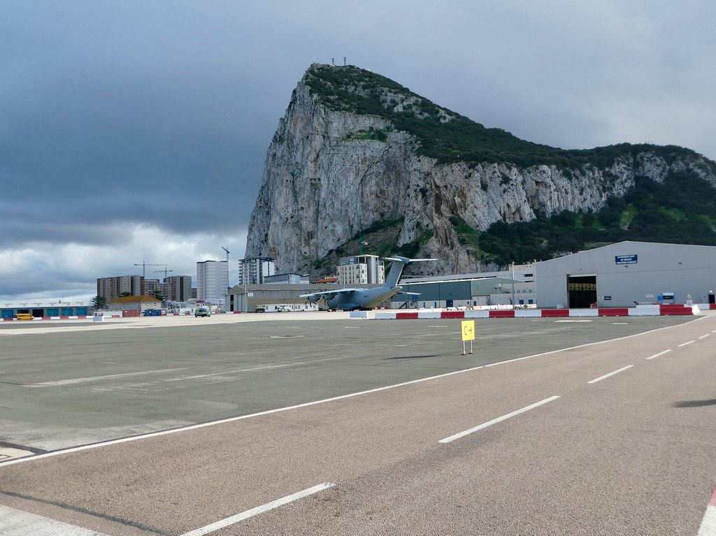 Winston Churchill Avenue crossing the Gibraltar Airport runway