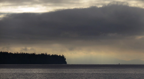 dark sky at 2:00 in the afternoon on December 28 from the White Rock Pier in White Rock, a seaside village in BC, Canada