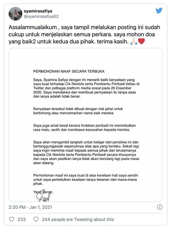 Individu Fitnah Neelofa Mohon Maaf, Syamira Safiya Tarik Balik Kenyataan