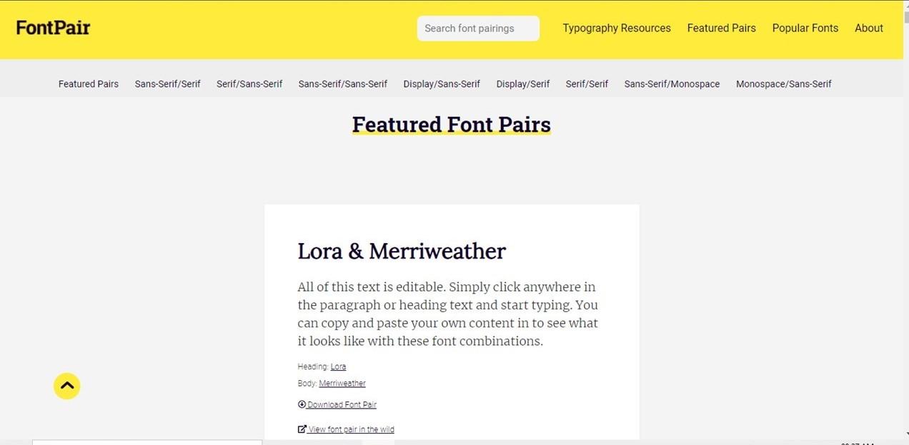 FontPair.co adalah salah satu website rekomendasi kombinasi font unik