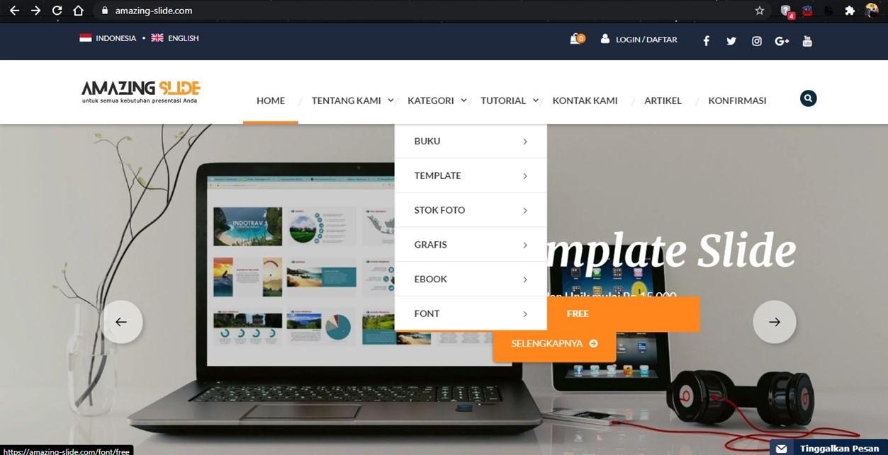 Amazing-slide.com adalah salah satu website Kreasi Presentasi yang menyediakan font gratis dan kombinasinya.