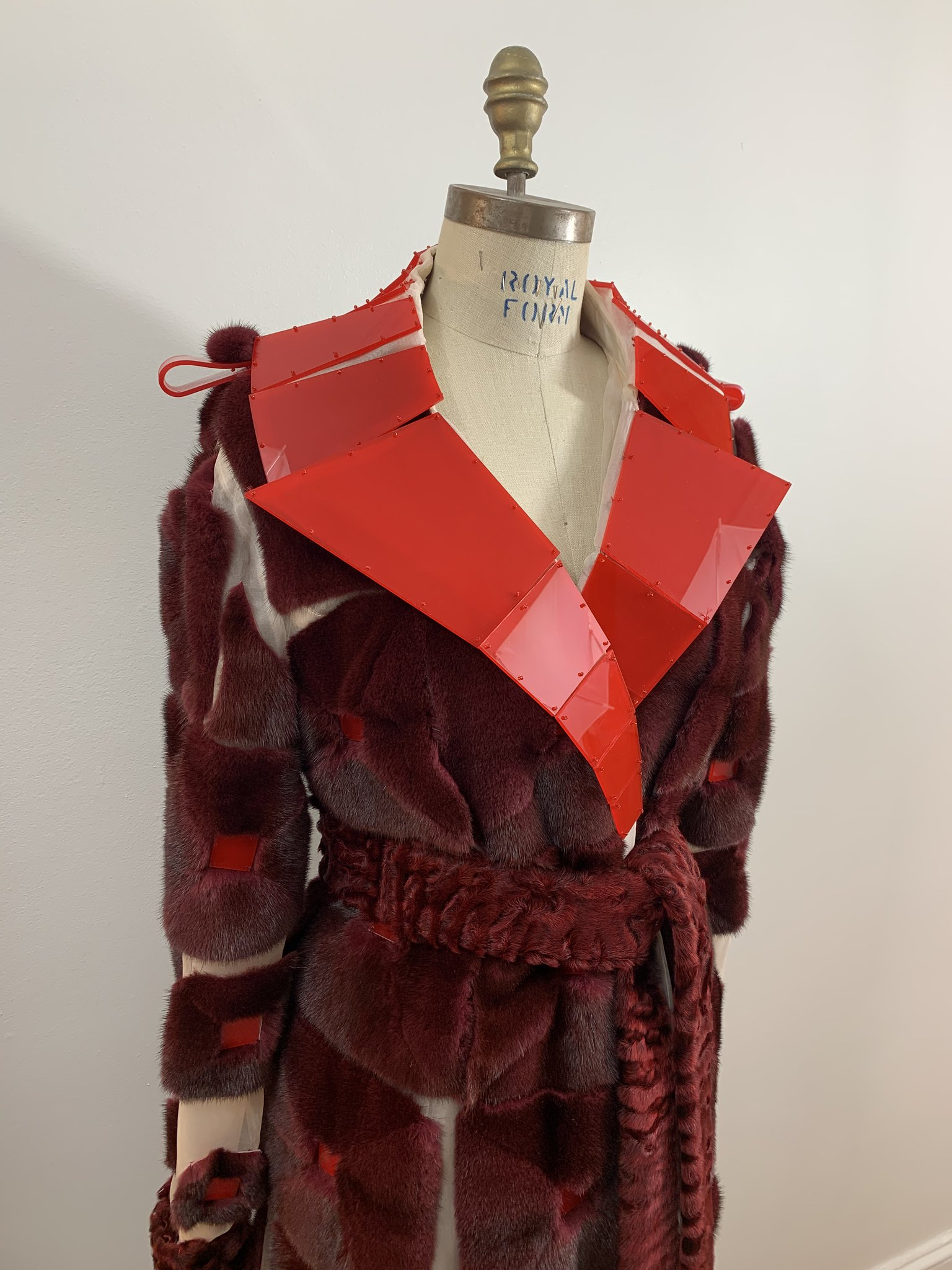 Mink and organza with belt