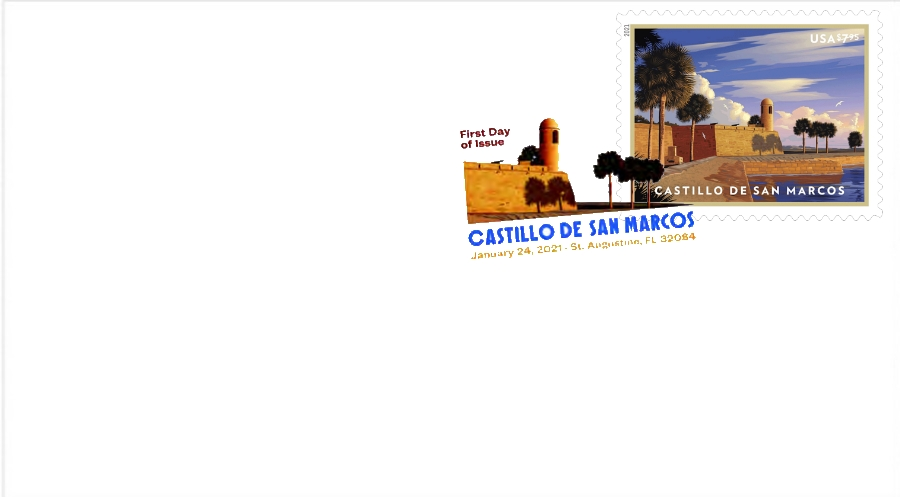 United States: Castillo de San Marcos, 24 January 2021 (first day cover, digital color postmark)