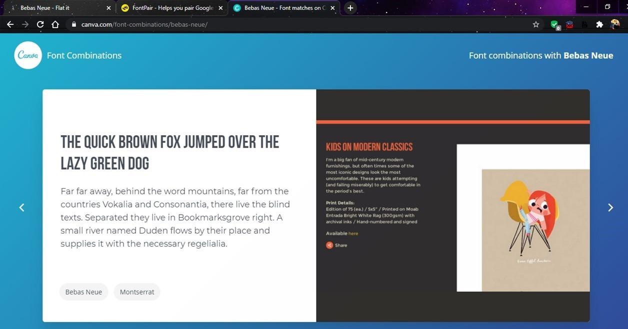 Website Popular bernama Canva ini ternyata juga menyediakan fasilitas kombinasi font unik.