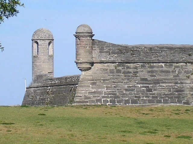 The tallest watchtower at the fort is at the corner facing the outlet to the Atlantic Ocean.