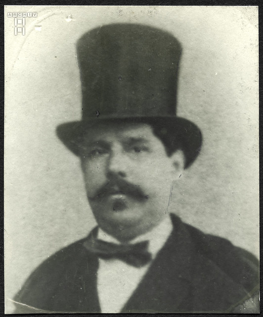 ArchivTappen2AAl2d288 Porträt, Mann mit Zylinderhut und Bart, 1900-1930er
