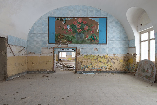 In 2010 this mural was covered with a tree poster. Meanwhile enthusiasts of Soviet murals removed the poster and brought the mural back to light.