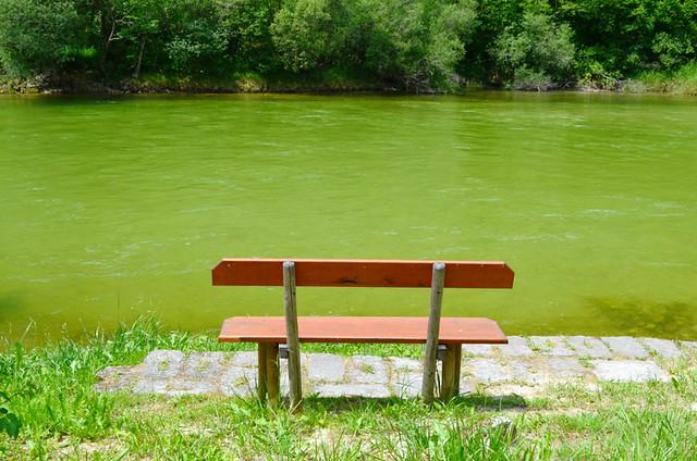 Bench beside river, Austria