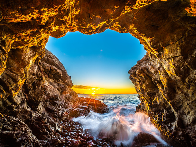 Malibu Beach Sea Cave Brilliant Sunset Leo Carillo State Beach Red Yellow Glow Blue Sky Fuji GFX100 Fine Art Landscape Ocean Art Seascape! Landscape Nature Photography! Master Medium Format Fine Art Photographer! Fujifilm GFX 100 & Fujifilm FUJINON Lens!