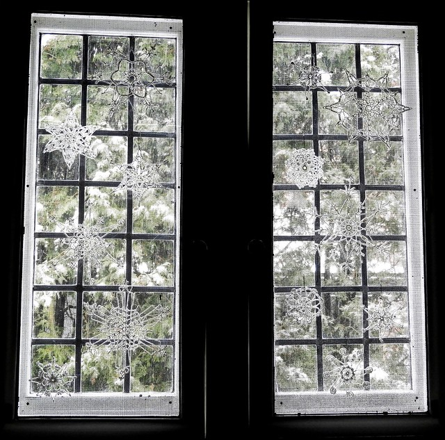 Opposite Sides of the Window - Ornamental Snow Flakes Inside, Real Snow (Snowing) Outside