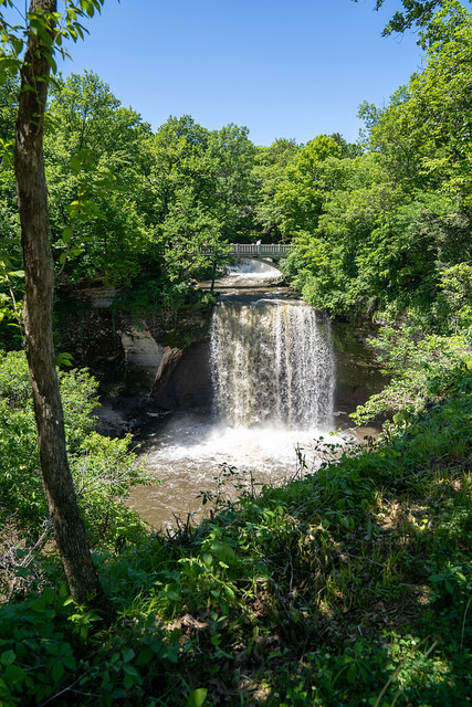 Minneopa State Park waterfall, portrait view, in summer