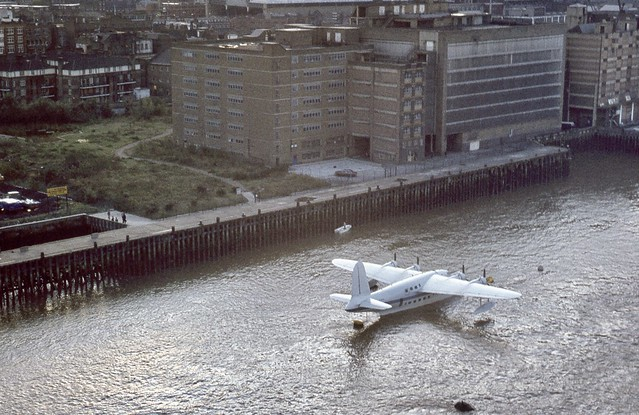 Short S.25 Sandringham (Sunderland MR5) flying boat G-BJHS which was moored for a few days in Sep 1982 on the River Thames - seen from the top of Tower Bridge in London
