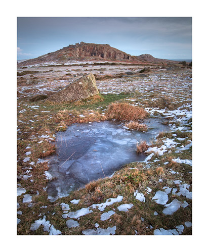 cheesewring stoweshill minions cornwall icy wintry bodmin bodminmoor bluehour dawn ice snow cold frozen puddle england uk britain january landscape outdoors