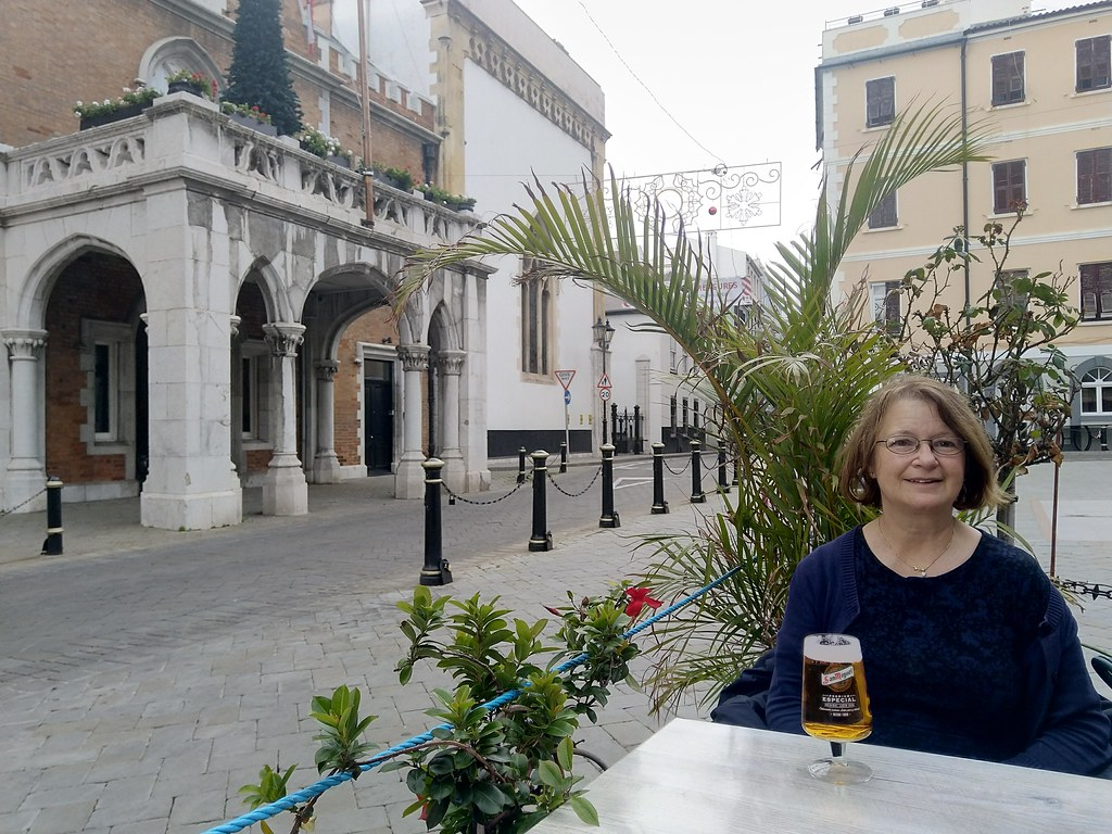Relaxing with a beer outside the Governor's Residence, Gibraltar