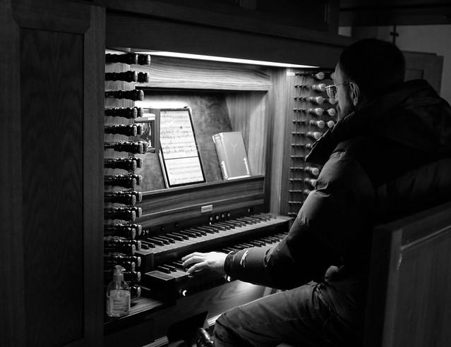 Church musician during his rehearsal