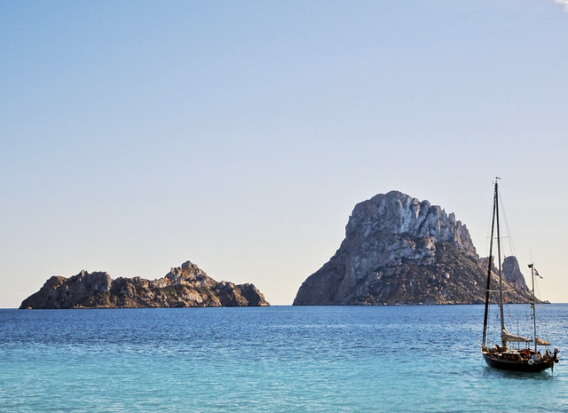 Es Vedrà and Es Vedranell. Cala d'Hort, Ibiza aka Eivissa.