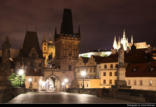 View along Karluv Most towards Mala Strana at Night, Prague, Czech Republic