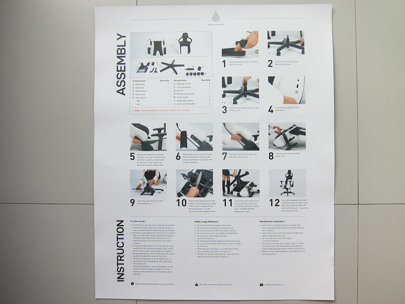 Martiangear Astronaut (Fabric) Gaming Chair - Poster Instructions