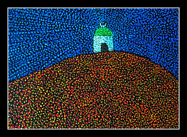 'Mosque on a hill' - Kinetic Pointillism