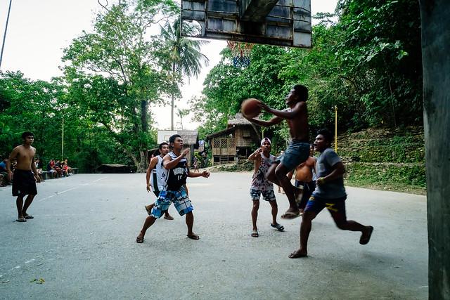 Basketball game in indigenous Iraya-Mangyan village Talipanan, Puerto Galera (Mindoro, The Philippines)