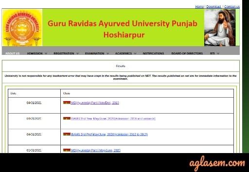 Guru Ravidas University Result