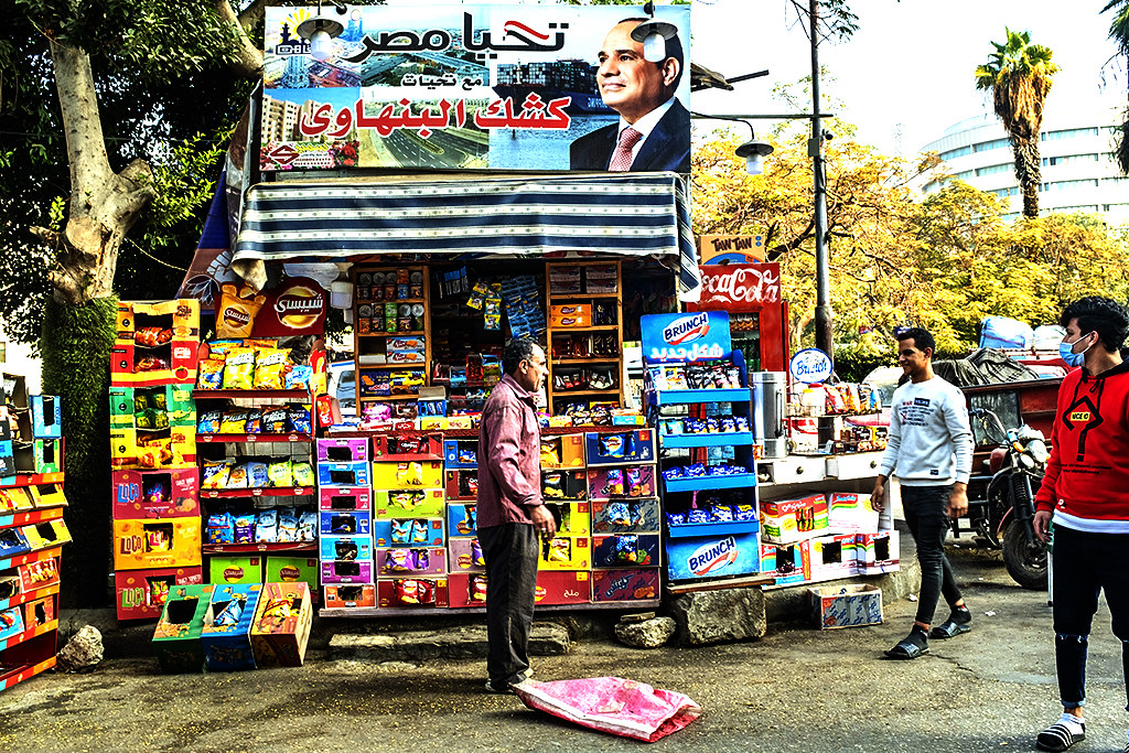 Al-Sisi over snack and soft drink stand near St. Mark's Coptic Orthodox Cathedral on 1-5-21--Cairo