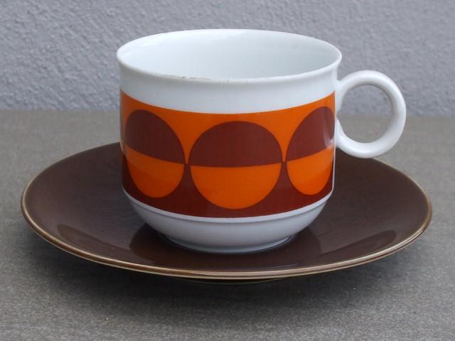 Vintage 1970's Pop Art Orange & Brown  Seltmann Weiden Bavaria West Germany Porcelain Cup & Saucer