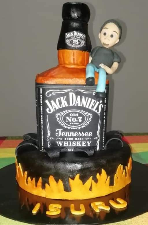 Jack Daniels Bottle Sculptured Cake by Rashmi De Silva Dadhimuni of Cakes and Bakes by Rush