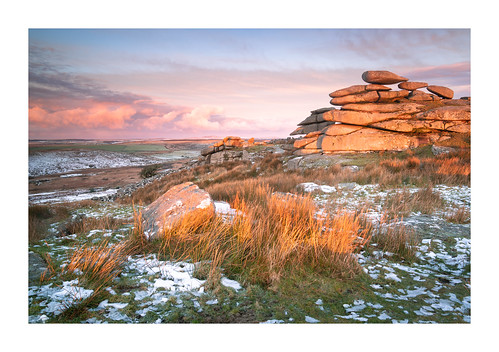 cheesewring stoweshill minions cornwall bodmin bodminmoor england britain uk ice icy exposed wild landscape cold january winter snow sunrise