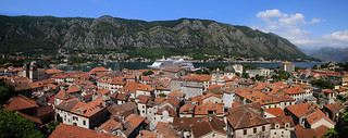 Panoramic view on the old fortified, coastal town of Kotor | by B℮n