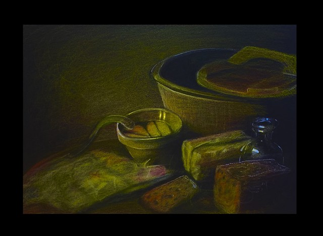 Last stage of Still Life. Derwent Lightfast coloured pencil drawing on black card by jmsw.