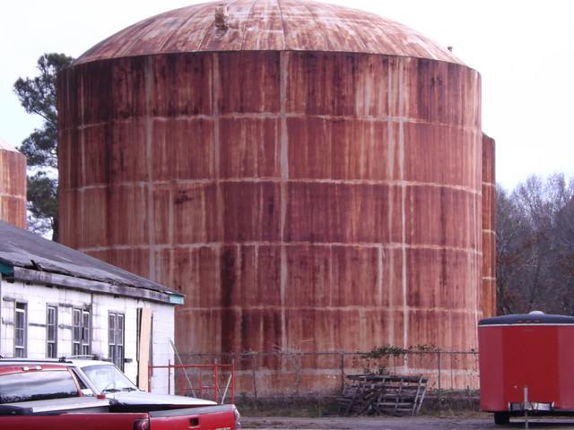 Rusty bulk oil tank