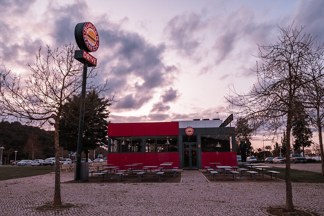Silves, Portugal - January 23, 2020: A Burger Ranch fast food restaurant with outdoor patio seating and a drive through