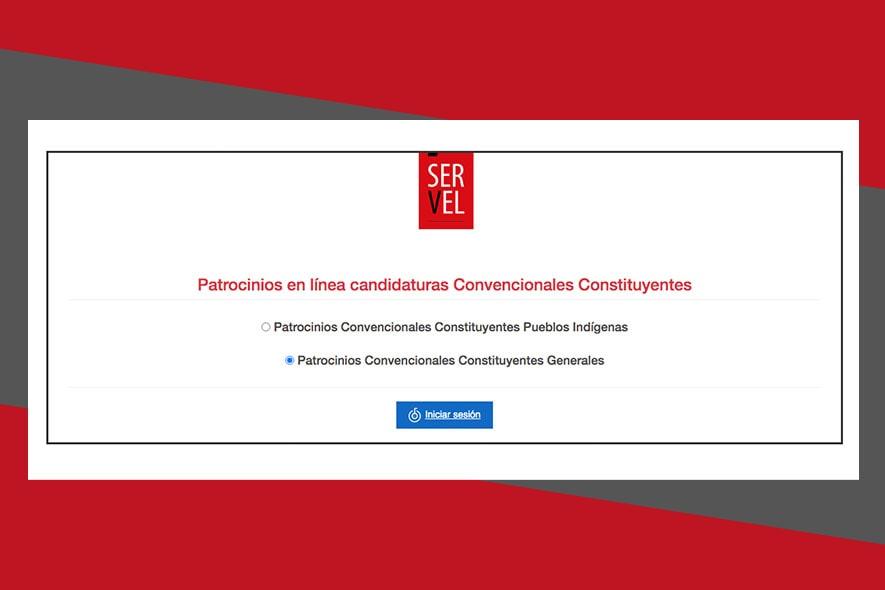 Patrocinio online de candidaturas independientes a la convención constitucional