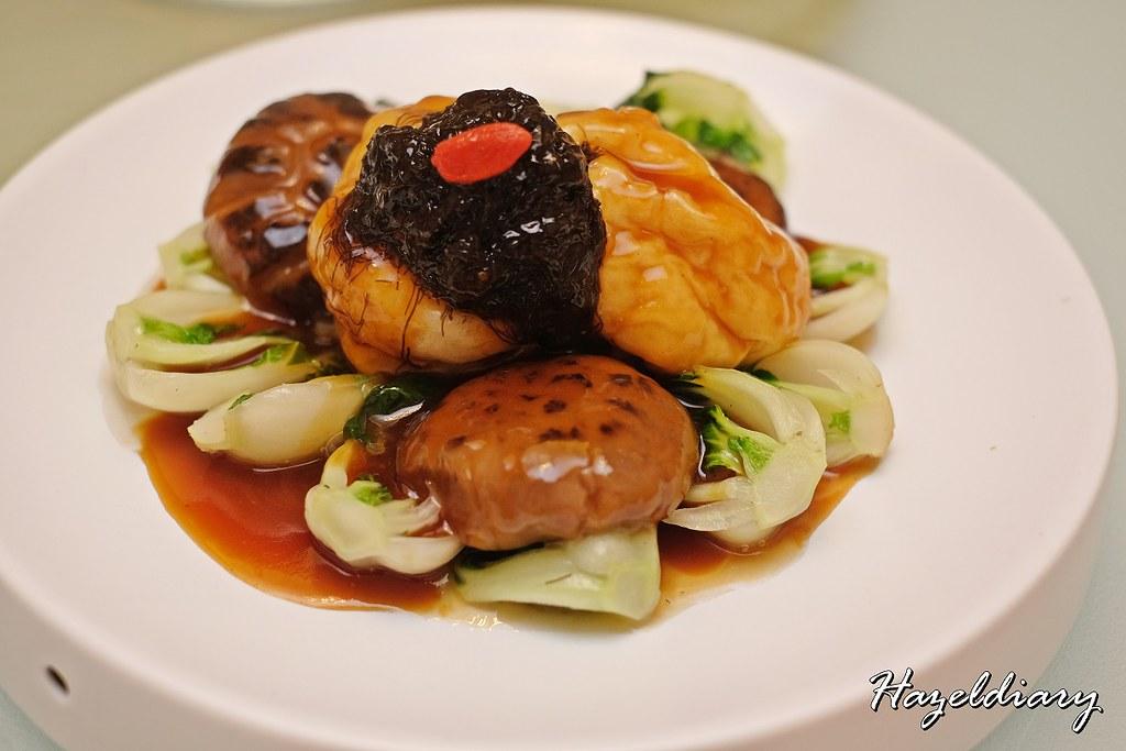 Crystal Jade Restaurants-Braised Fish Tofu with Shiitake Mushroom and Black Moss in Oyster Sauce