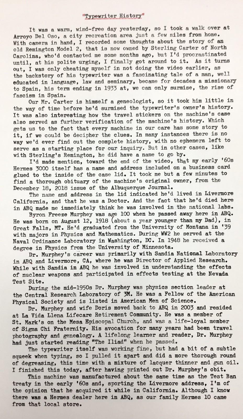 Typewriter History, Page 1