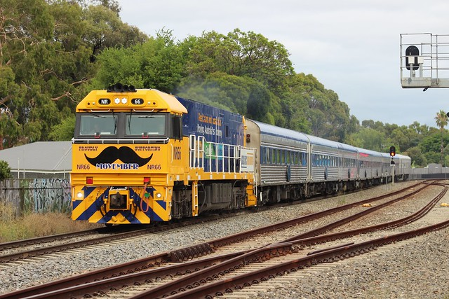 1AM8 with NR66 at passing though Millswood for the first time after 279 days due to covid19 halting it after the boarder closure between SA and Victoria on Sunday the 3rd of January 2021