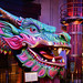 Las Vegas NV, USA 10-01-18 Lucky the Smiling Water Dragon is huge and colorful and can be found in the MGM Grand's theatre entrance to the Cirque du Soleil KA