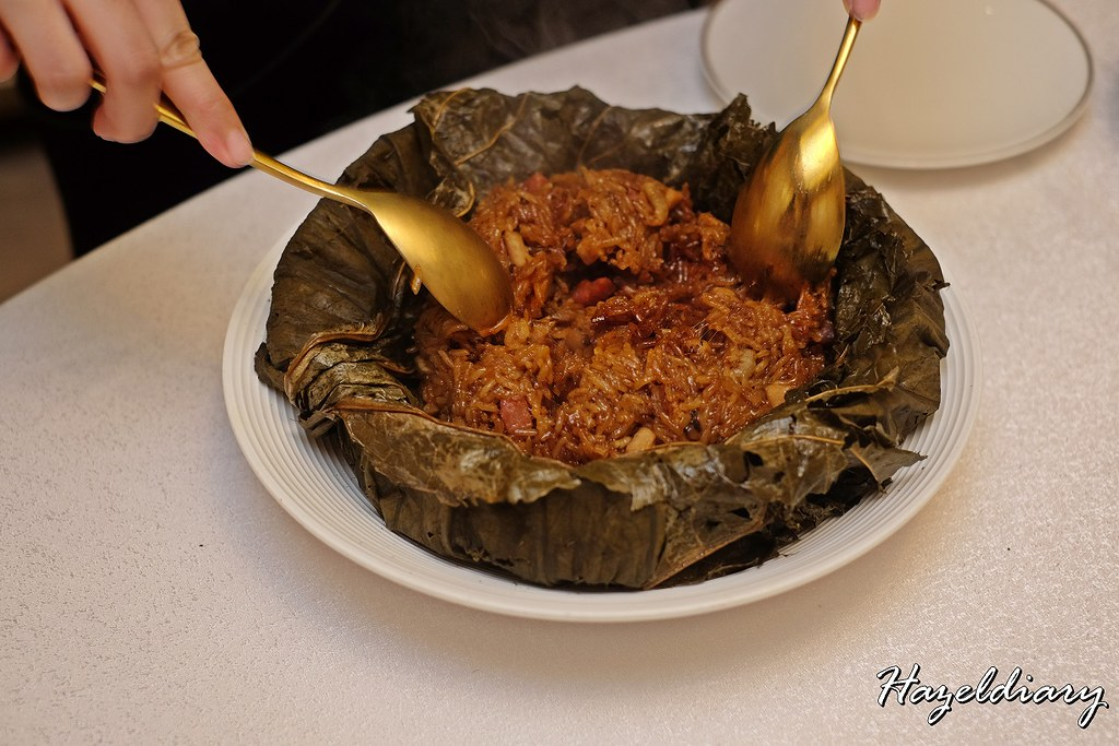 Crystal Jade Restaurants-Fried Conpoy & Taro Glutinous Rice Wrapped in Lotus Leaf