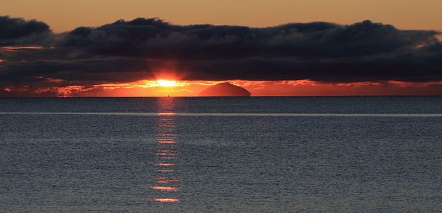 Another stunning sunset over the Ailsa Craig,South Ayrshire,Scotland from Prestwick beach.3/1/21