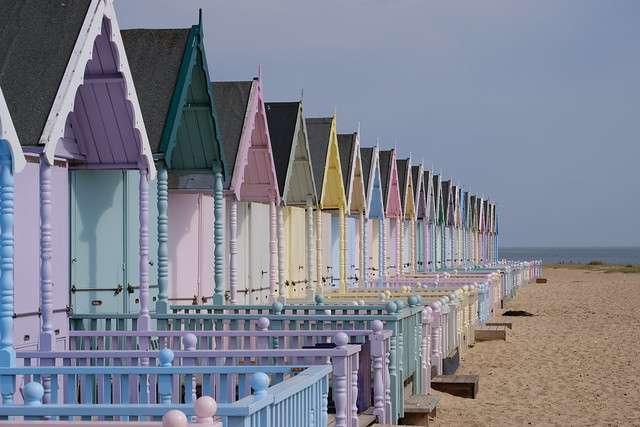 Row of brightly coloured beach huts - West Mersea Essex - fuji xt 3