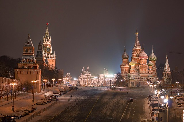 Moscow walks. The Kremlin and St. Basil's cathedral. View from the Bolshoy Moskvoretsky Bridge