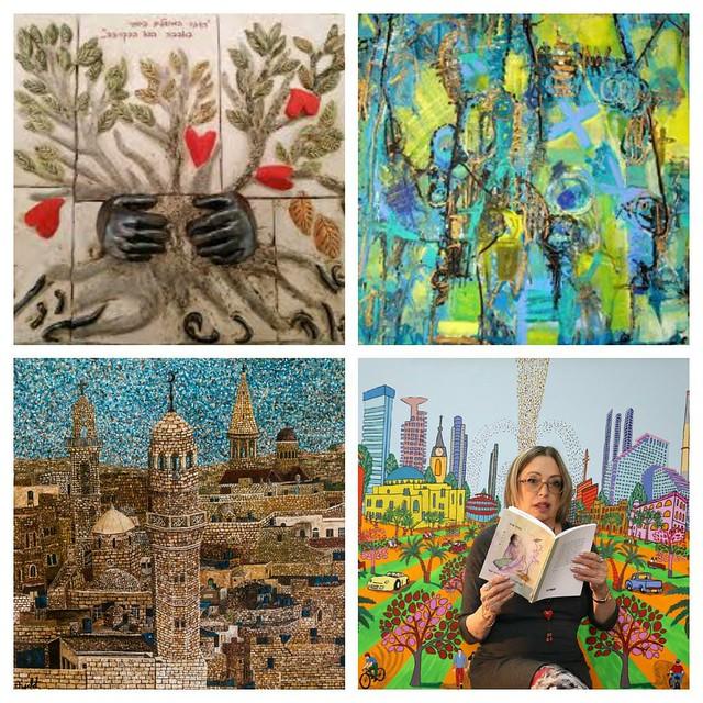 מודרנית סמדר שרת רחל פרנק איילת בוקר שרה זלוטי רפי פרץ  שיתוף פעולה בין אמניות תצוגה של ציורים שירים פסלים ציור פיסול שירה