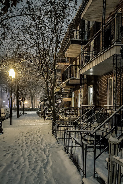 Empty Snowy Street at Night