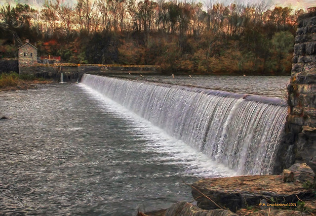 Potomac River water flowing over Dam No.4 near Downsville Maryland