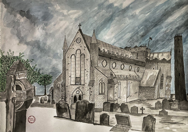 20-19 - Life and Death - St. Canice's Cathedral Kilkenny - Japanese Ink+Aquarell auf Papier-H42xB59---