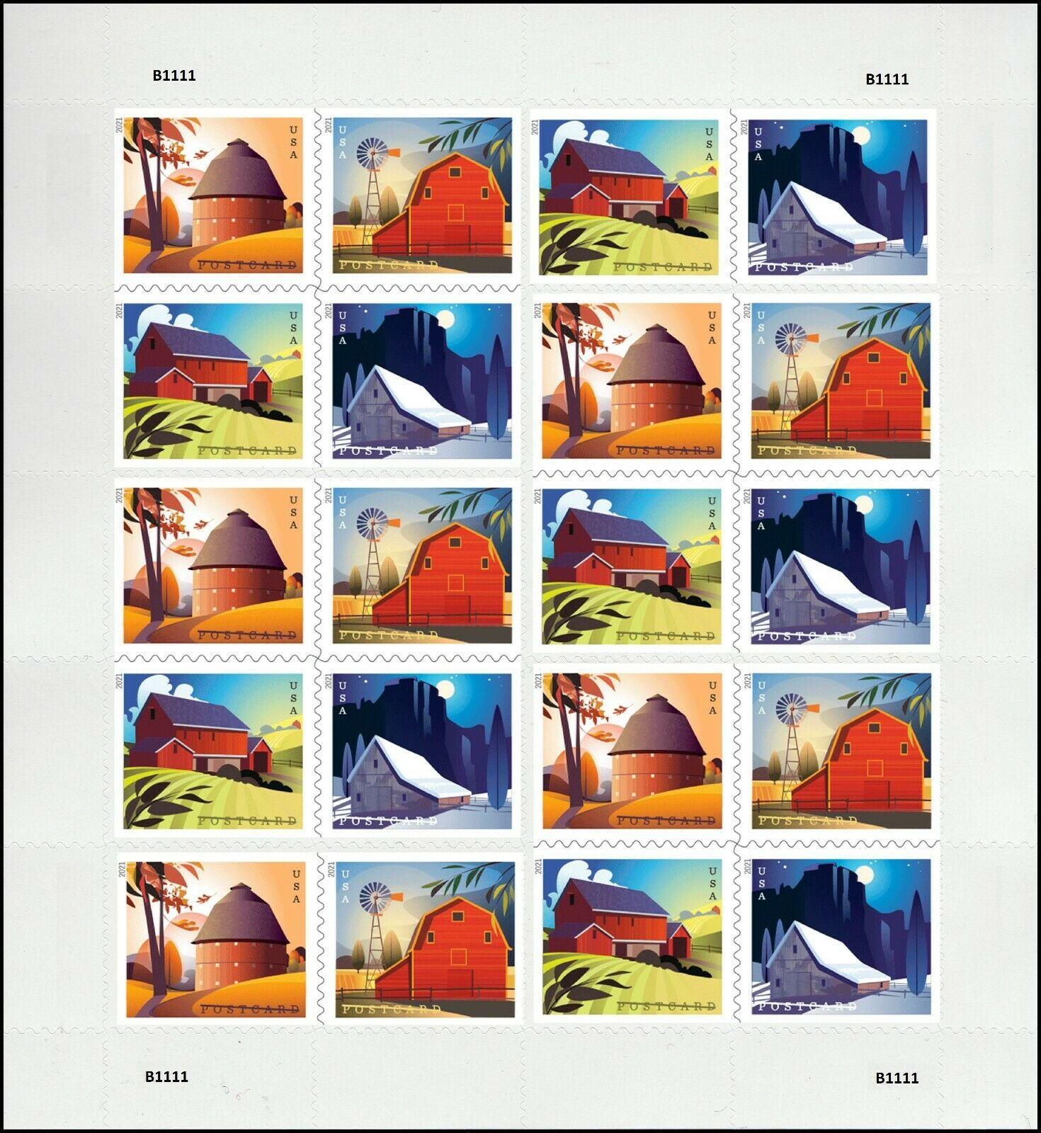 United States: Barns, 24 January 2021 (full sheet of 20 stamps)