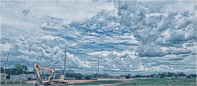 Cloudy Skies over Cobb County   Looking south along Powers Ferry Road   July 12th, 2020   Prisma photograph
